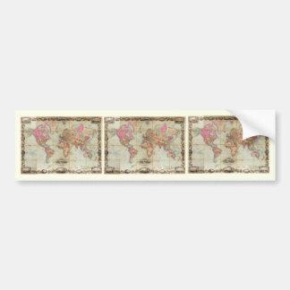 Mapa del mundo antiguo de Juan Colton, circa 1854 Pegatina De Parachoque