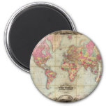 Mapa del mundo antiguo de Juan Colton, circa 1854 Imán