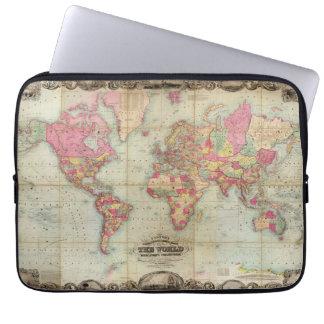 Mapa del mundo antiguo de Juan Colton circa 1854 Mangas Portátiles