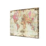 Mapa del mundo antiguo de Juan Colton, circa 1854 Impresión En Lona