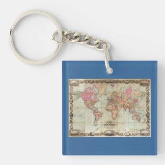 Mapa del mundo antiguo de Juan Colton, circa 1854 Llavero Cuadrado Acrílico A Doble Cara