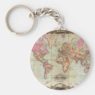 Mapa del mundo antiguo de Juan Colton, circa 1854 Llavero Redondo Tipo Pin