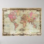 Mapa del mundo antiguo de Juan Colton, circa 1854 Poster