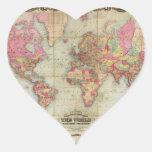 Mapa del mundo antiguo de Juan Colton, circa 1854 Pegatina Corazón Personalizadas
