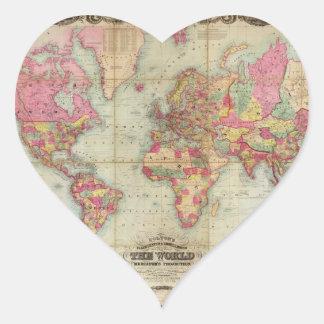 Mapa del mundo antiguo de Juan Colton, circa 1854 Pegatina En Forma De Corazón