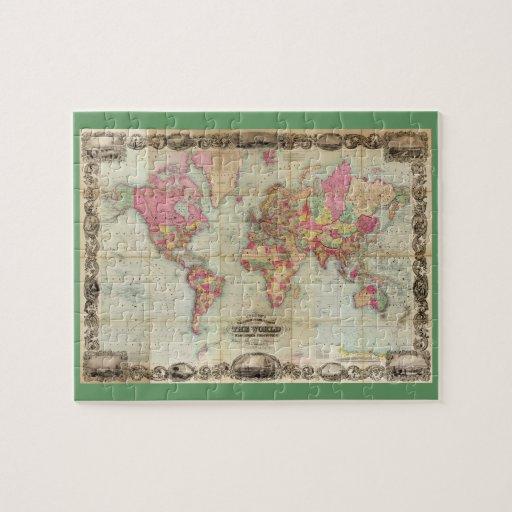 Mapa del mundo antiguo de Juan Colton, circa 1854 Rompecabeza