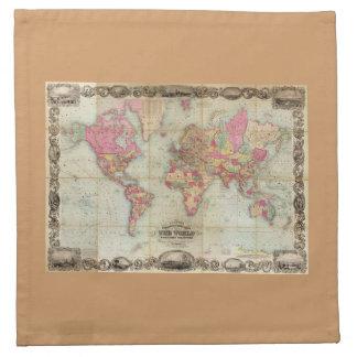 Mapa del mundo antiguo de Juan Colton, circa 1854 Servilletas De Papel