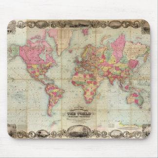 Mapa del mundo antiguo de Juan Colton, circa 1854 Alfombrillas De Raton