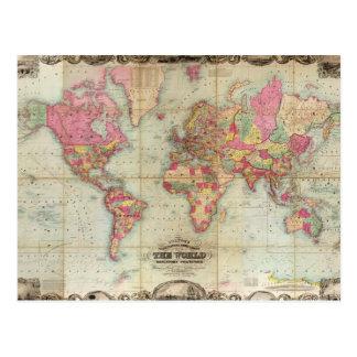 Mapa del mundo antiguo de Juan Colton circa 1854 Postales