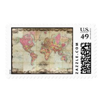 Mapa del mundo antiguo de Juan Colton, circa 1854 Timbre Postal