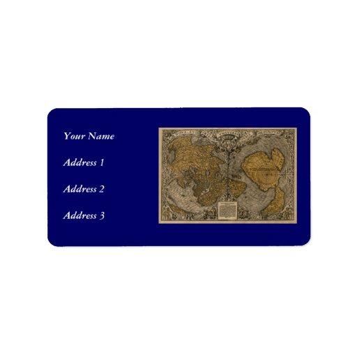Mapa del mundo antiguo de la obra clásica 1531 por etiqueta de dirección