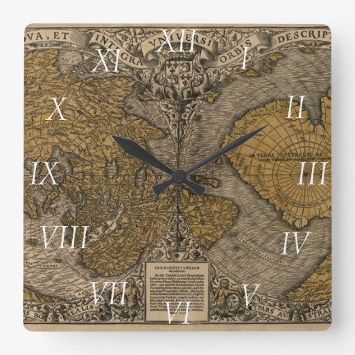 Mapa del mundo antiguo de la obra clásica 1531 por relojes
