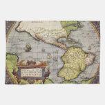 Mapa del mundo antiguo de las Américas, 1570 Toalla De Cocina