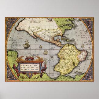 Mapa del mundo antiguo de las Américas, 1570 Póster