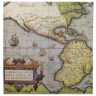 Mapa del mundo antiguo de las Américas, 1570 Servilletas