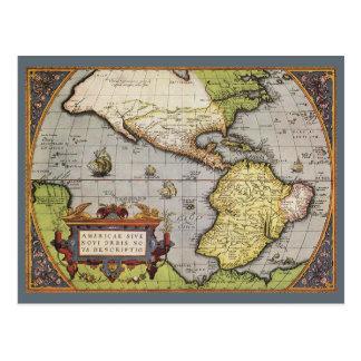 Mapa del mundo antiguo de las Américas, 1570 Postales