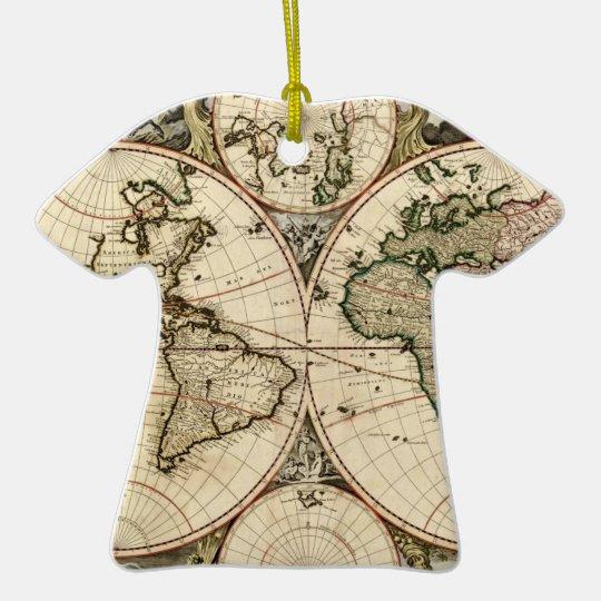 Mapa del mundo antiguo de Nicolao Visscher, circa Adorno Navideño De Cerámica En Forma De Playera