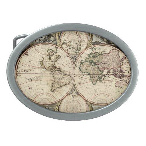 Mapa del mundo antiguo de Nicolao Visscher, circa  Hebillas Cinturón Ovales