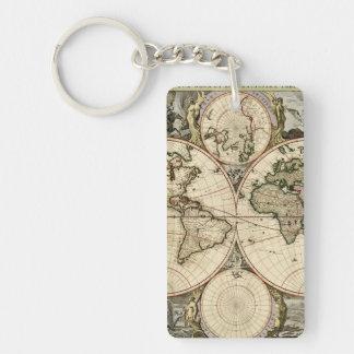 Mapa del mundo antiguo de Nicolao Visscher, circa Llavero Rectangular Acrílico A Doble Cara