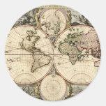 Mapa del mundo antiguo de Nicolao Visscher, circa  Pegatinas Redondas