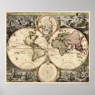 Mapa del mundo antiguo de Nicolao Visscher, circa  Póster