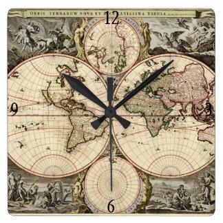 Mapa del mundo antiguo de Nicolao Visscher, circa  Relojes De Pared