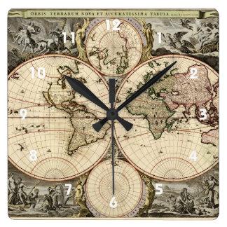 Mapa del mundo antiguo de Nicolao Visscher, circa  Reloj De Pared