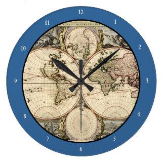 Mapa del mundo antiguo de Nicolao Visscher, circa  Relojes