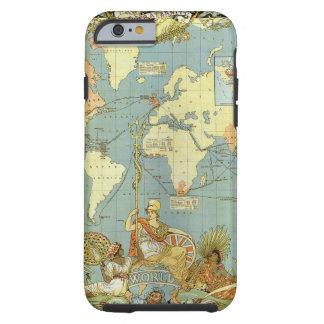 Mapa del mundo antiguo del Imperio británico, 1886 Funda De iPhone 6 Tough
