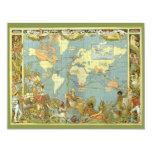 """Mapa del mundo antiguo del Imperio británico, 1886 Invitación 4.25"""" X 5.5"""""""