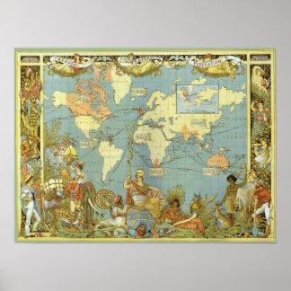 Mapa del mundo antiguo del Imperio británico, 1886 Póster