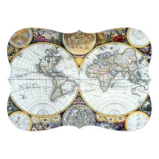 """Mapa del mundo antiguo del siglo XVII del vendedor Invitación 5"""" X 7"""""""