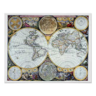 Mapa del mundo antiguo del siglo XVII del vendedor Póster