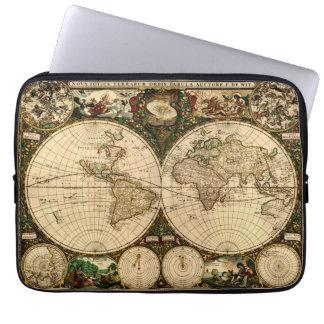Mapa del mundo antiguo del vintage funda computadora
