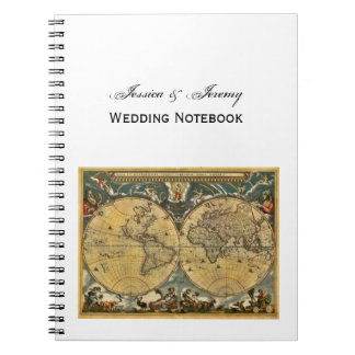 Mapa del mundo antiguo, diario blanco del boda de  libreta espiral