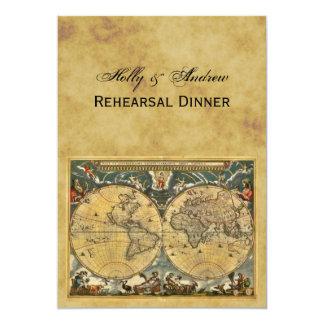 """Mapa del mundo antiguo, dinar apenado del ensayo invitación 5"""" x 7"""""""