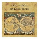 Mapa del mundo antiguo, dinar SQ apenado del Invitación 13,3 Cm X 13,3cm