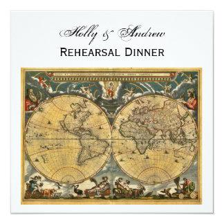 """Mapa del mundo antiguo, dinar SQ blanco del ensayo Invitación 5.25"""" X 5.25"""""""