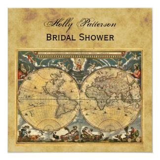 """Mapa del mundo antiguo, ducha nupcial SQ apenada Invitación 5.25"""" X 5.25"""""""
