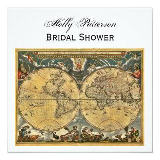 """Mapa del mundo antiguo, ducha nupcial SQ blanca de Invitación 5.25"""" X 5.25"""""""