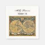 Mapa del mundo antiguo, dulce SQ blanco 16 de BG Servilletas Desechables
