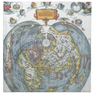 Mapa del mundo antiguo en forma de corazón Peter d Servilleta De Papel