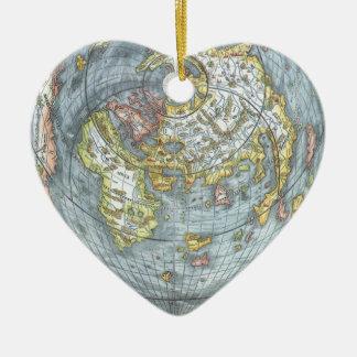 Mapa del mundo antiguo en forma de corazón Peter Adorno De Cerámica En Forma De Corazón
