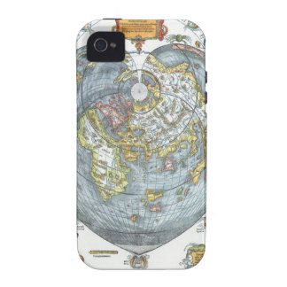Mapa del mundo antiguo en forma de corazón Peter iPhone 4/4S Fundas