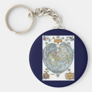 Mapa del mundo antiguo en forma de corazón Peter Llavero Redondo Tipo Pin