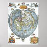 Mapa del mundo antiguo en forma de corazón Peter Póster