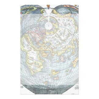 Mapa del mundo antiguo en forma de corazón Peter Papelería Personalizada
