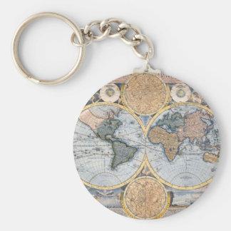 Mapa del mundo antiguo fresco llavero redondo tipo pin