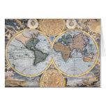 Mapa del mundo antiguo fresco tarjetas