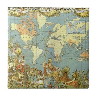 Mapa del mundo antiguo Imperio británico 1886 Tejas
